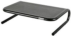 Allsop Metal Art Jr. Monitor Stand, 14-Inch wide platform holds 40 lbs with keyboard storage space – Pearl Black (30165)