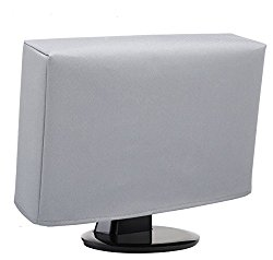 Computer Monitor Dust Cover – 22 to 24 Inch LCD Flat Screen Protector [Antistatic, Water Resistant, Heavy Duty Fabric, Silver] by DigitalDeckCovers