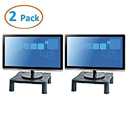 Halter Height Adjustable Monitor Stand – Printer Stand – Desk Shelf – Monitor Riser For Screens Up To 24″ (24 Inches) – 2 Pack