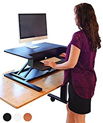 Stand Up Desk Store AirRise Pro – Height Adjustable Standing Desk Converter, Stand Up Desk Keyboard Tray, 2 Tier, Black