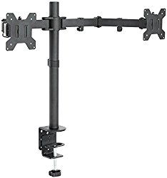 VIVO Dual LCD Monitor Desk Mount Stand Heavy Duty Fully Adjustable fits 2 / Two Screens up to 27″ (STAND-V002)