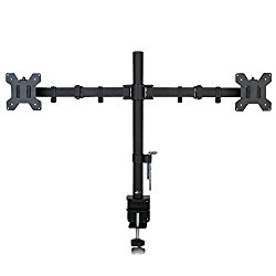 WALI Dual LCD Monitor Desk Mount Stand Fully Adjustable Fits Two Screens up to 27″, Full Motion, Tilt, Swivel, Rotate, 22 lbs Capacity, C-Clamp Base and Optional Grommet Base (WL-M002)