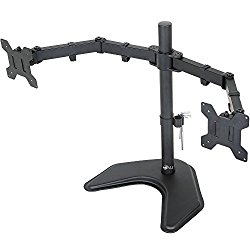 WALI Dual LCD Monitor Mount Free Standing Fully Adjustable Desk Fits Two Screens up to 27″, Full Motion, Tilt, Swivel, Rotate, 22 lbs Capacity, With Optional Grommet Base (WL-MF002)