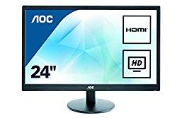 AOC e2470swhe 24-Inch Class LED-Lit Monitor, Full HD 1080p, 5ms, 20M:1 DCR, VGA/HDMI, VESA, Narrow Bezel