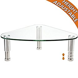 Clear Glass Computer Monitor Riser | Triangle Desktop Universal Corner Stand for Computer Monitor & Laptop HD01T-003