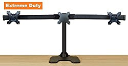 EZM Deluxe Triple Monitor Mount Stand Free Standing with Grommet Mount Option Supports up to 3 28″ (002-0020)