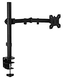 Mount-It! Monitor Mount Arm For Single Computer Monitor, Full Motion Fits 20 21 23 24 27 30 32 Screens Height Adjustable Tilt Swivel Rotate, Clamp and Grommet Base