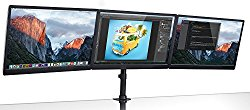 Mount-It! Triple Monitor Mount 3 Screen Desk Stand for LCD Computer Monitors for 19 20 22 23 24 27 Inch Monitors VESA 75 and 100 Compatible Full Motion, 54 lbs Capacity (MI-1753)