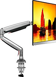 "ONKRON Monitor Desk Mount Full Motion with Mount and Gas Spring Fully Adjustable Mounting Arm for Computer Monitors 23"" – 32 Inch LED LCD Flat Panel TVs up to 19.8 lbs G100 Silver"