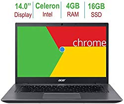 Newest Acer Chromebook 14-inch LED Anti-glare HD display (Intel Celeron 3855u 1.6GHz processor, 4GB RAM, 16GB eMMC SSD, HDMI, 802.11a Wifi, Bluetooth, Intel HD Graphics, Black, Chrome OS)