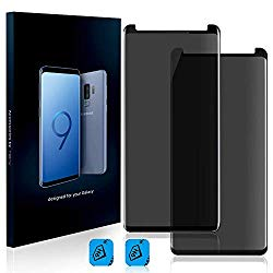 Homy Compatible Privacy UHD Screen Protector for Samsung Galaxy S9 Plus [2-Pack] – Free Camera Lens Cover. Anti Spy Filter Made of 9H Curved 3D High Clarity Full Cover Japanese Tempered Glass.