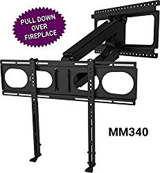 MantelMount MM340 Above Fireplace Pull Down TV Mount – with Patented auto-straightening, auto-stabilization, 2 Premium Gas Pistons, Adjustable Motion Stops, Wire Management & Safety Pull-Down Handles