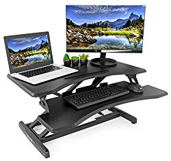VIVO Small Black Height Adjustable Standing Desk Workstation | Monitor Riser 30″ Sit Stand Tabletop Converter (DESK-V000M)