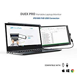 Mobile Pixels Duex Pro Portable Dual Monitor for Laptops, 12.5″ Full HD IPS Laptop Screen, USB Type -A Type-C Lightweight, Brightness Adjustable Anti Glare Portable Screen (Duex Pro Only)