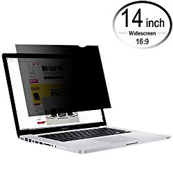 CenterZ 14 inch 16:9 Laptop Screen Privacy Filter, Removable Reusable Antiglare 60° Visible Angle Widescreen Monitor Protector Film for Lenovo, Macbook, Dell, Surface Pro, HP Notebook (Black, 310×174)