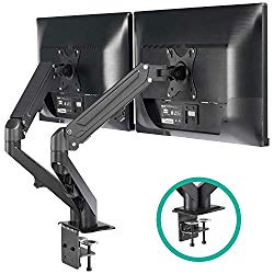 EleTab Dual Arm Monitor Stand – Height Adjustable Gas Spring Monitor Desk Mount with C Clamp Mounting Base for 2 Computer Screens 17 to 27 inches – Each Arm Holds up to 14.3 lbs