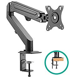 EleTab Single Monitor Stand – Articulating Gas Spring Monitor Arm, Adjustable VESA Mount Desk Stand with C-Clamp Installation – Fits 17 to 27 inch LCD Computer Monitors up to 14.3lbs