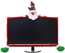 Gugou Computer Monitor Cover, Elastic Computer Cover Christmas Decorations Home Office Decor Year Gift Ideas (Santa Claus)