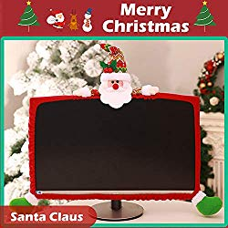HIOTECH Computer Monitor Cover, Elastic Computer Cover Christmas Decorations for Home Office Decor and New Year Gift Ideas (Santa Claus)