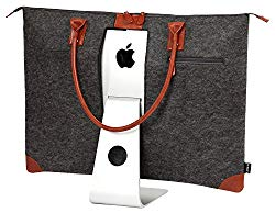 Lavolta Carrying Case Bag for Apple iMac 27-inch – Handmade Genuine Leather and Wool Felt – fits iMac 27″ Retina 5K & 27″ Thunderbolt Display – with Protective Lining & Pockets for iMac Accessories