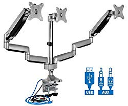 Mount-It! Triple Monitor Mount | Desk Stand with USB and Audio Ports | 3 Counter-Balanced Gas Spring Height Adjustable Arms for Three 24 27 30 32 Inch VESA Screens | C-Clamp and Grommet Bases Included