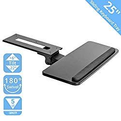 Seville Classics AIRLIFT 360 Adjustable Under-the-Desk Ergonomic Sliding Keyboard & Mouse Tray, 25″ W x 9.8″ D, Black