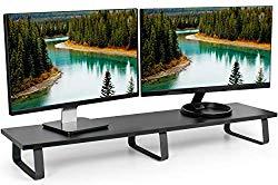 VIVO Black 39 inch Extra Long Monitor Riser – Wood & Steel Desktop Stand | Dual Screen, TV, Keyboard, Laptop, Ergonomic Desk and Tabletop Organizer (STAND-V000DL)