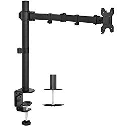 VIVO Single LCD Monitor Desk Mount Stand Fully Adjustable/Tilt/Articulating for 1 Screen 13″ to 27″ (STAND-V001)